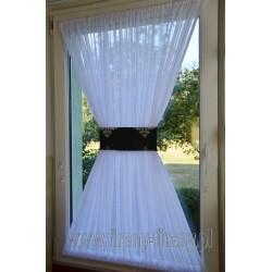 00513 Firana - zazdrostka na okno dachowe z opaską - czarnosrebrny żakard
