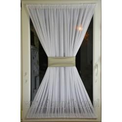 "00516 Firana - zazdrostka na okno dachowe z opaską - ""srebrna"" satyna"