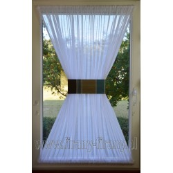 00519 Firana - zazdrostka na okno dachowe z opaską - turkusowo-beżowo-brązowa