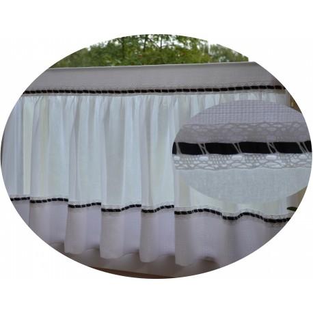 00652 Zazdrostka FOLK - biała koronka z tasiemką /10cm wys.45cm