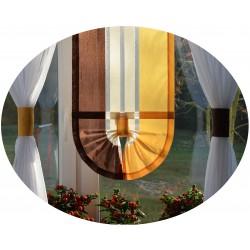 00666 Komplet: roletka-wąska z plexi i firany boczne