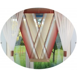 00721 komplet panel V-ka z plexi + zasłonki N.Ż.Bordo Krem