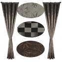 00726 Zasłony żakard: brąz, szary, krata czarno szara