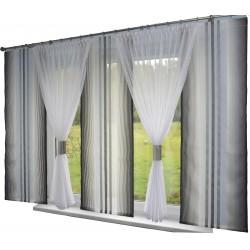 00739 Komplet: 3 panele Czarno Perłowe z plexi i 2 firany