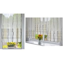 00772 Panel zakładkowy z woalu w pasy Ecru i Białe + plexi